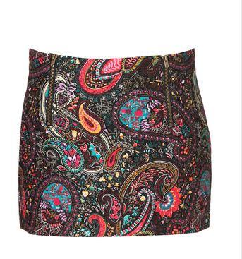 Petite Paisley Dip Pelmet Skirt